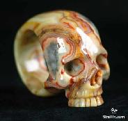 Pattern, Crazy Lace Agate Carved Skull, Crystal, Size 9