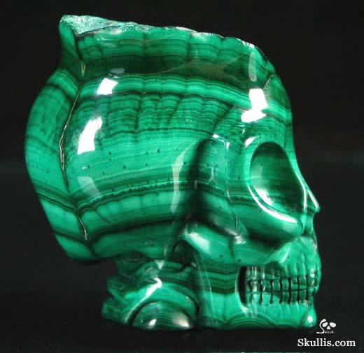 Malachite Crystal Alien Skull