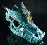 "Huge 5.3"" Ocean Jasper Carved Dragon Skull, Crystal"