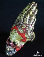 Dragon Blood Jasper Carved Crystal Skull Ring, Size 9 3/4