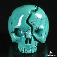 Gemstone, Turquoise Carved Crystal Skull Ring, Size 8