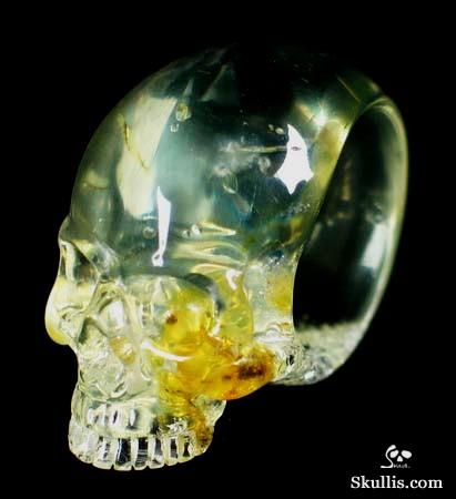 Baltic Amber Crystal Skull Ring