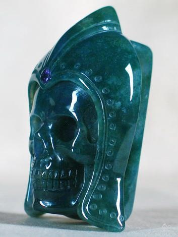 Green Moss Agate Crystal Skull Buckle