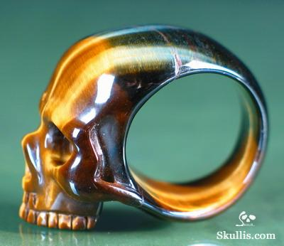 Tiger' Eye Crystal Skull Ring