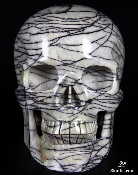"""Huge 4.9"""" Black Picasso Jasper Carved Crystal Skull ..."""