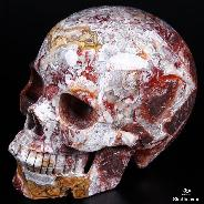 "Amazing Huge 6.3"" Red Crazy Lace Agate Carved Crystal Skull, Realistic"