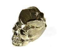 "1.2"" Pyrite Carved Crystal Druse Skull"