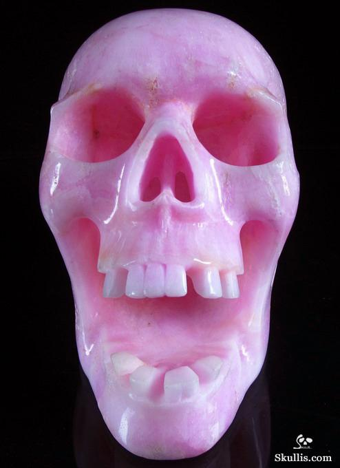 Pink Aragonite Crystal Screaming Skull