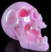 "Huge 7.4"" Pink Aragonite Carved Crystal Skull"