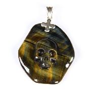 Blue & Gold Tiger Eye Carved Crystal Skull Pendant