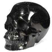 Lifesiize 7.4'' Jet Carved Crystal Skull, Realistic