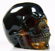 2.3'' Blue Amber Carved Crystal Skull, Super Realistic