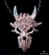 Indian Agate Carved Crystal Dragon Skull Pendant
