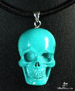 Turquoise Carved Crystal Skull Pendant