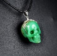 "Gemstone 1.3"" Chrysoprase Carved Crystal Skull Pendant with Sterling Silver"