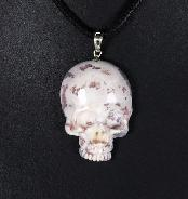Indian Agate Carved Crystal Skull Pendant with Sterling Silver
