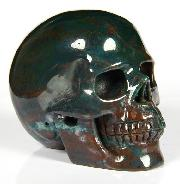 "2.4"" Bloodstone Carved Crystal Skull, Realistic"