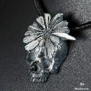 "2.0"" Chrysanthemum Stone Carved Crystal Skull Pendant"