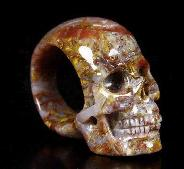 Gemstone Size 10 1/2, Pietersite Carved Crystal Skull Ring