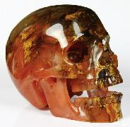 "HUGE 5.2"" Smelted Quartz Carved Crystal Singing Skull, Realistic"