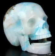 "HUGE 5.1"" Blue Aragonite Carved Crystal Singing Skull"