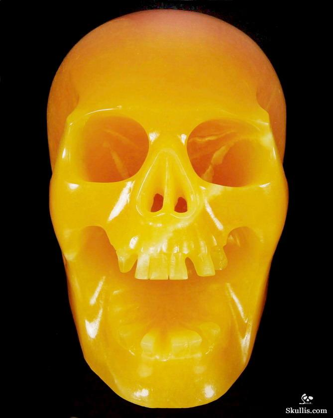 Beeswax Jade Crystal Screaming Skull