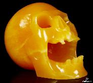 "HUGE 5.0"" Beeswax Jade Carved Crystal Screaming Skull"