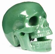"HUGE 5.2"" Green Aventurine Carved Crystal Singing Skull"