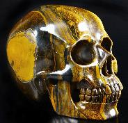 "Awesome Flash Gemstone Lifesized 6.7"" Gold Tiger Eye Carved Crystal Skull, Super Realistic"