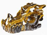 "Awesome Flash Gemstone Huge 7.6"" Gold Tiger Eye Carved Crystal Dragon Skull"