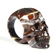 Size 10, Chinese Bloodstone Carved Crystal Skull Ring