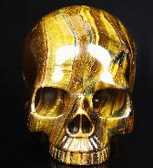 "Awesome Flash Gemstone Lifesized 6.9"" Gold Tiger Eye Carved Crystal Skull without Jaw"