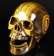 "Awesome Flash Gemstone Lifesized 6.6"" Gold Tiger Eye Carved Crystal Singing Skull"