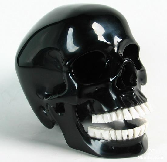 Black Obsidian Crystal Skull and White Chalcedony Teeth