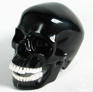Black Obsidian Carved Crystal Skull and White Chalcedony Teeth