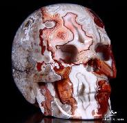 "2.6"" Red Crazy Lace Agate Carved Crystal Skull, Realistic"