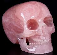 "Lifesized 8.1"" Rose Quartz Carved Mitchell-Hedges Crystal Skull Replica Skull of Doom"