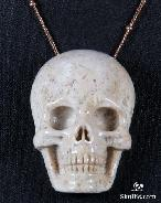Coral Fossil Carved Crystal Skull Pendant