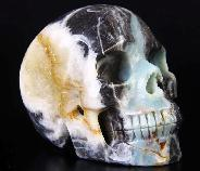 "Flash 5.1"" Chinese Amazonite Carved Crystal Skull Druse, Realistic"