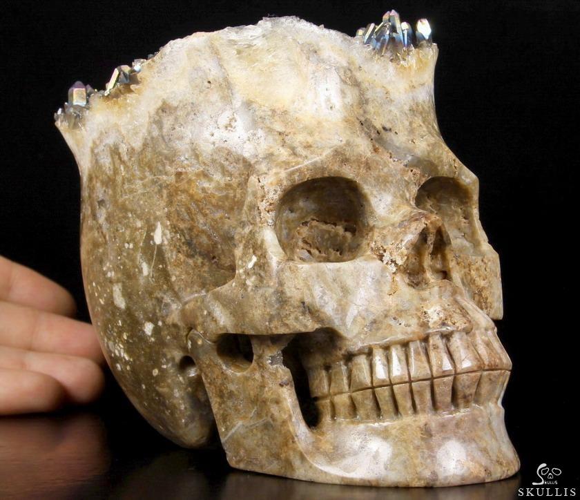 Quot quartz rock crystal druse carved skull