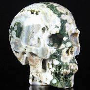 "4.7"" Ocean Jasper Carved Crystal Skull With Spine, Realistic"