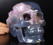 "Amazing Lifesized 6.5"" Agate Amethyst Geode Carved Crystal Skull, Realistic, Healing"