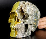 "Lifesized 6.5"" Ocean Jasper Geode Carved Crystal Skull,Super Realistic"