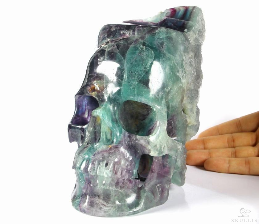 Fluorite Mineral Crystal Skull Sculpture, Hollowing Inside