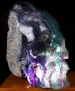 "Huge 6.6"" Fluorite Mineral Carved Crystal Skull Sculpture, Hollowing Inside, Crystal Healing"