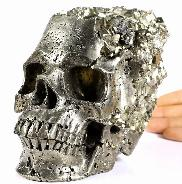 Lifesized 6.5 Pyrite Druse Carved Crystal Skull, Super Realistic, Healing