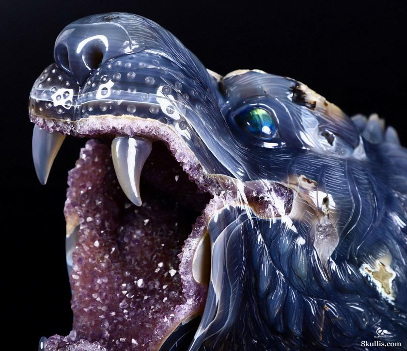 Agate Amethyst Geode Crystal Tiger Head Sculpture With Labradorite Eye