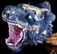 "Awesome Lifeszied 7.7"" Agate Amethyst Geode Carved Crystal Tiger Head Sculpture With Labradorite Eye, Crystal Healing"