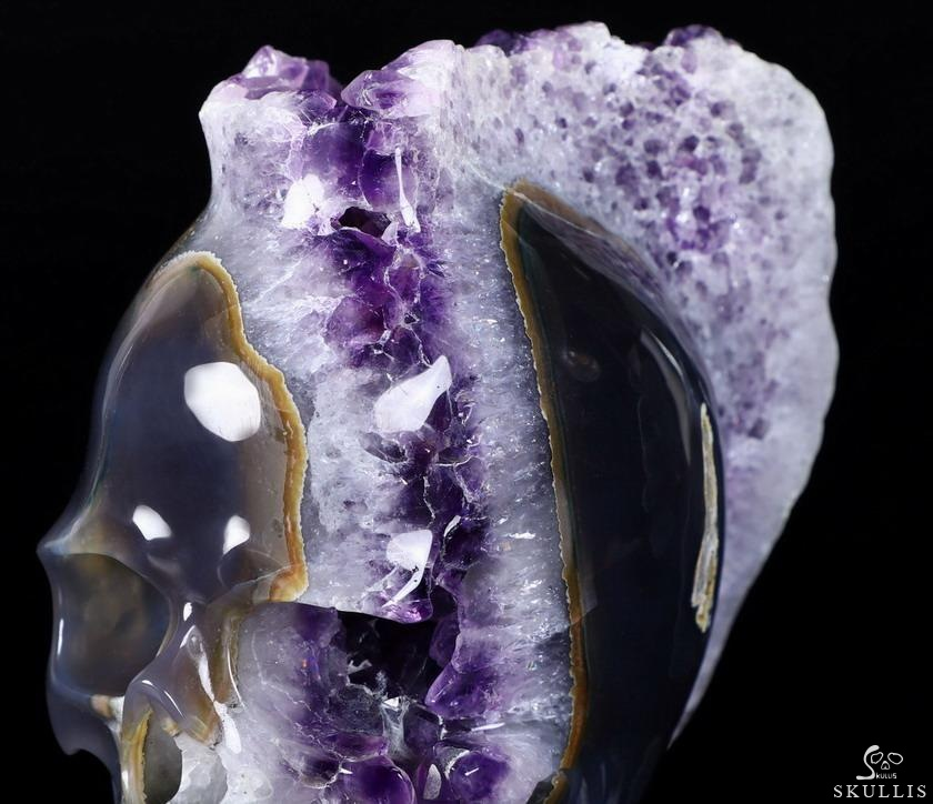 Agate Amethyst Druse Crystal Punk Skull With Spine