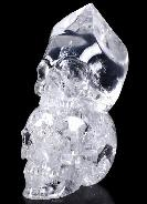 "Original 4.9"" Quartz Rock Crystal Carved Double Skull, Realistic, Crystal Healing"